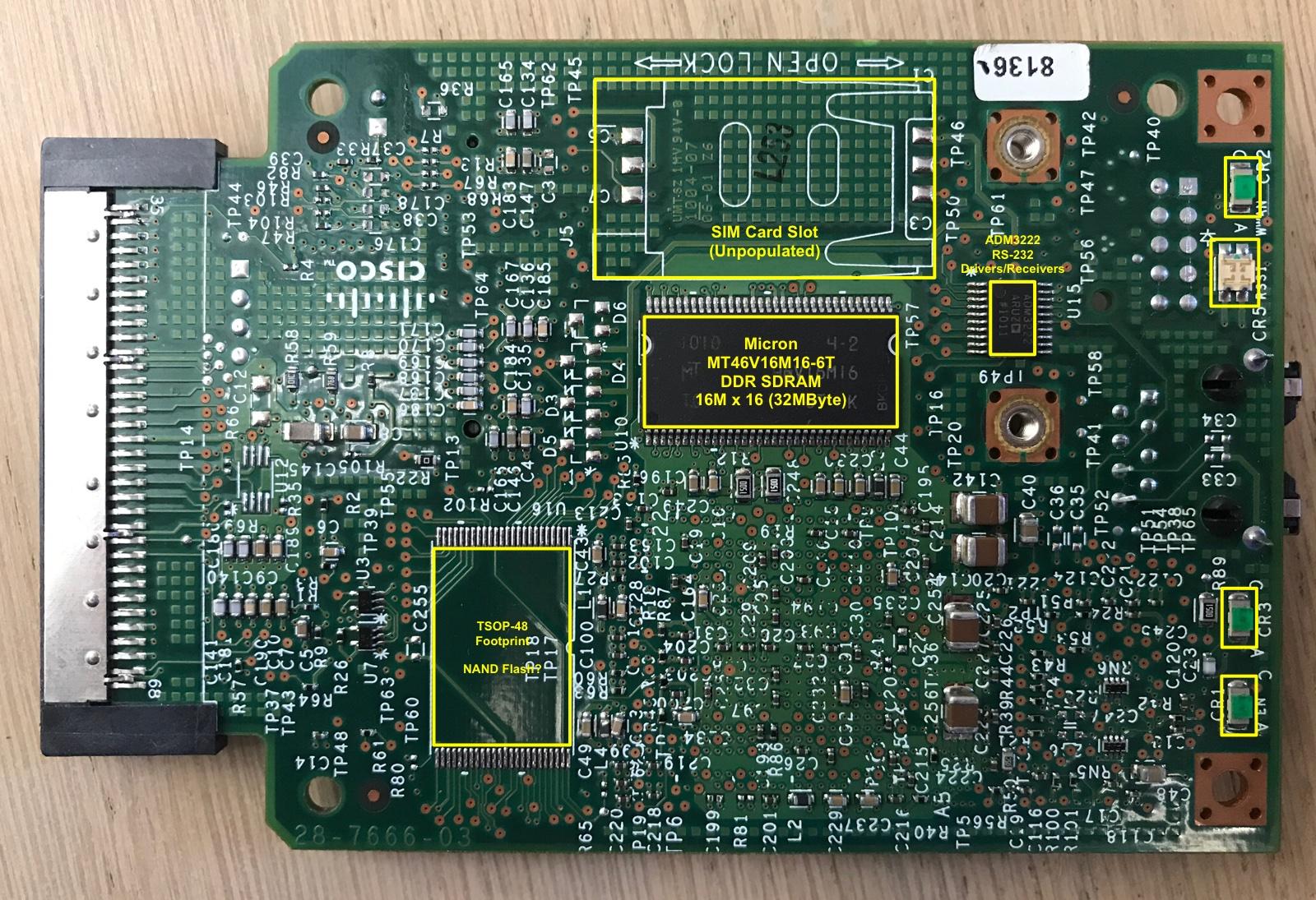 Cisco HWIC-3G-CDMA PCB Bottom Annotated